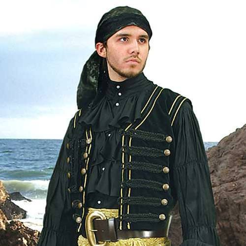 Men's Black and Gold Trimmed Black Cotton Velvet Costume Vest