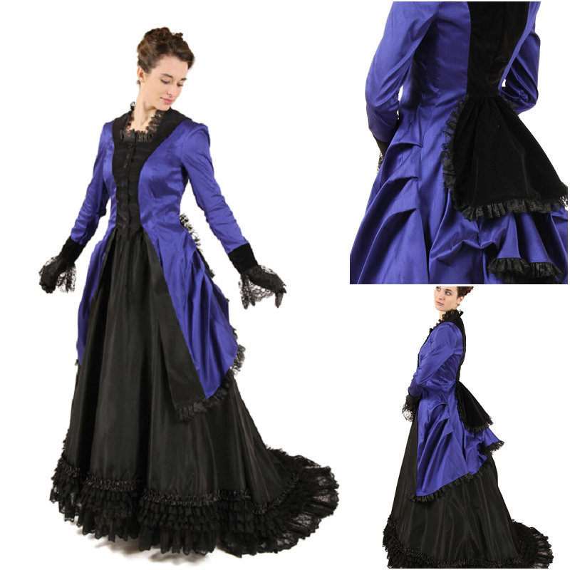 BLUE AND BLACK 1800's BUSTLE DRESS