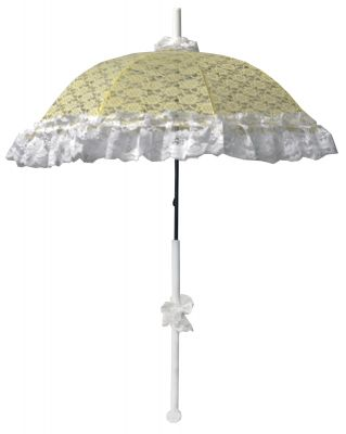 DELUXE YELLOW LACE RUFFLE PARASOL