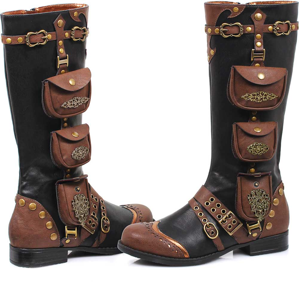 Women's Awesome Steampunk Straps And Pocket Boots