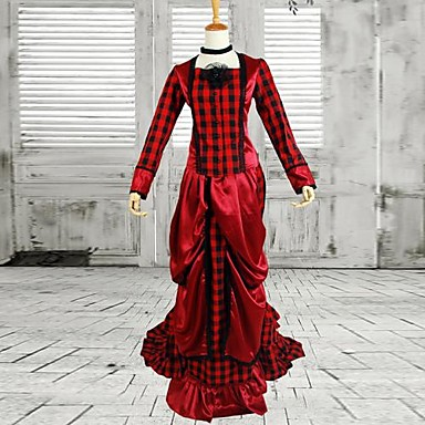 Elegant Red And Black Check Victorian Bustle