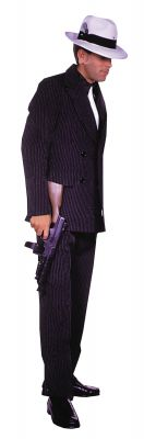 Men's 2-Piece Gangster Costume Brown Pinstripe Suit