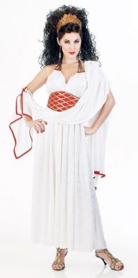 GREEK GODDESS HERA WHITE, RED and GOLD COSTUME