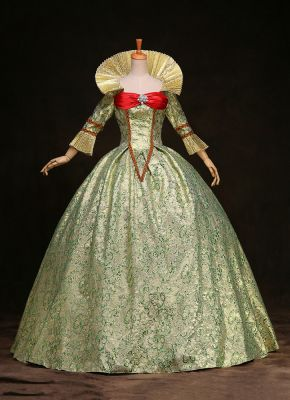 EXCELLENT GREEN PRINT 17TH 18TH CENTURY BALL GOWN