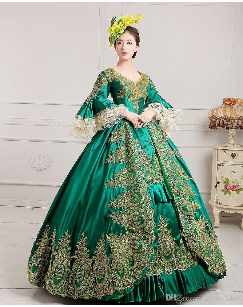 13be1b4f3a49 Royal Masquerade Party Green Lace Ball Gown | Green Victorian Ballgown