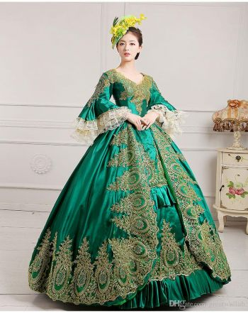 Royal Masquerade Party Green Lace Ball Gown