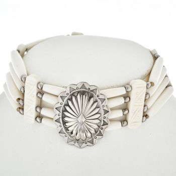 Navajo Indian Silver Concho & White Bone Choker