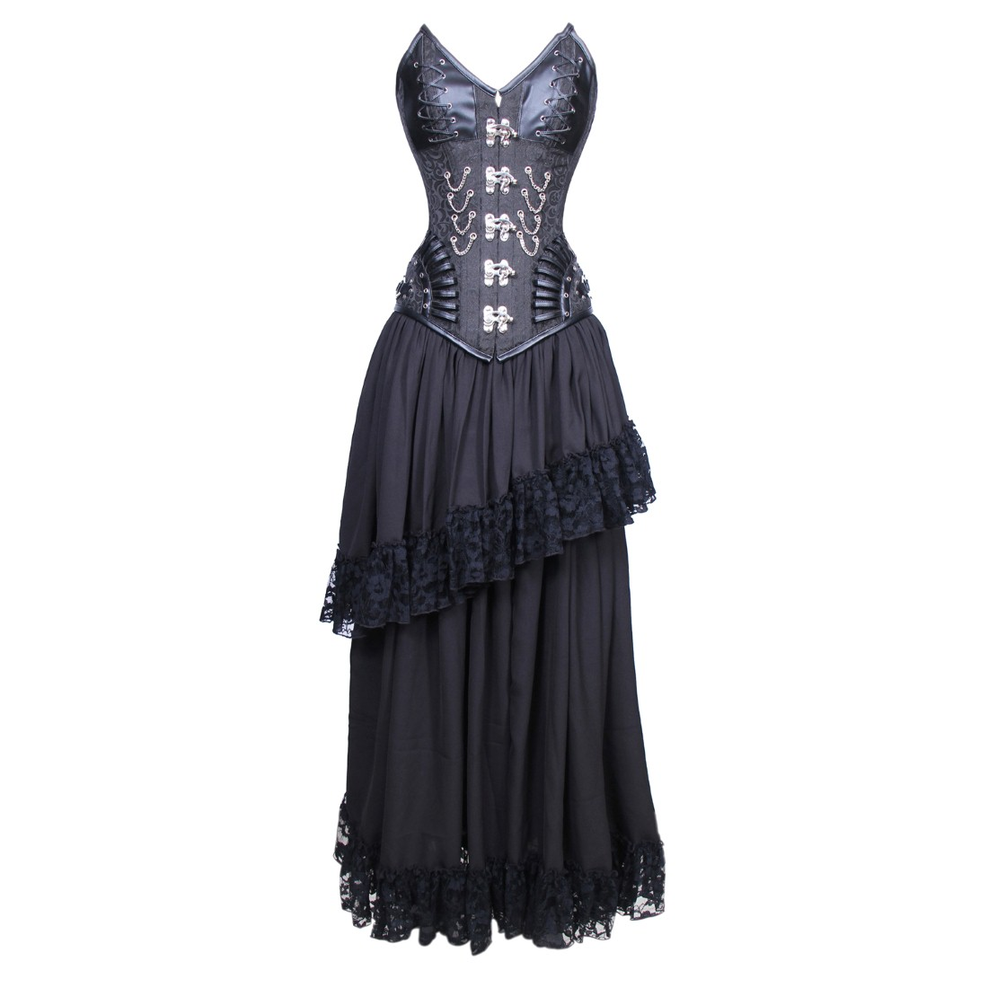 Jacobina Gothic Authentic Steel Boned Overbust Corset Dress
