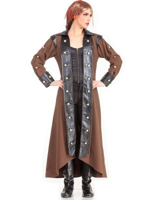 Victorian Steampunk Brown w/Black Trim Trench Coat
