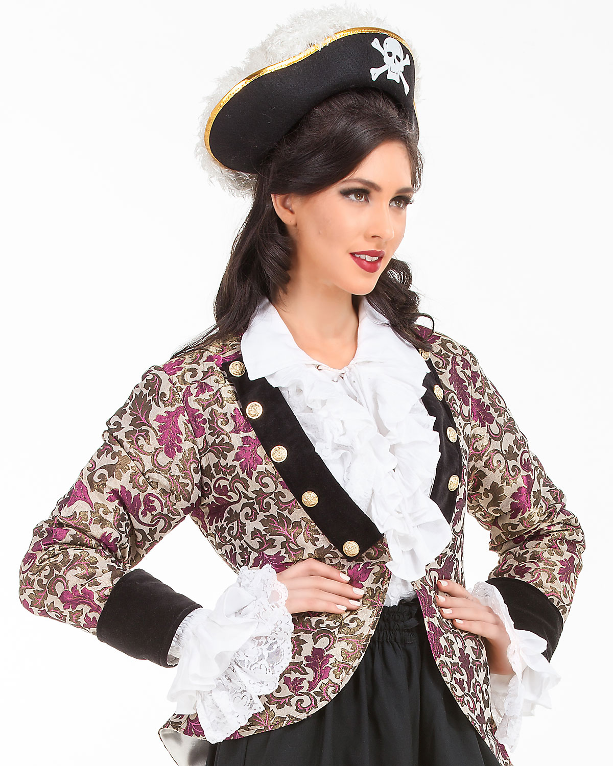 Cute Ladies Pirate Brocade Costume Coat