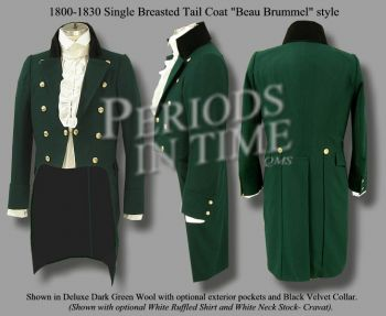 1800-1830 Vintage Wool Double Breasted Tailcoat