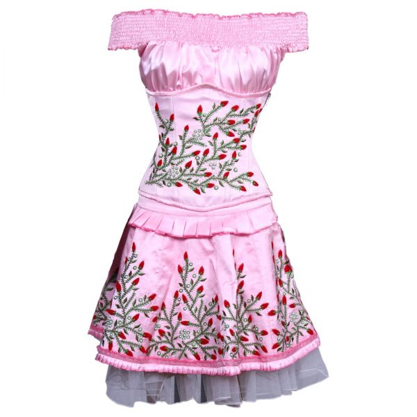 Pretty Satin Floral Embroidered Steel Boned Under Bust Corset Dress