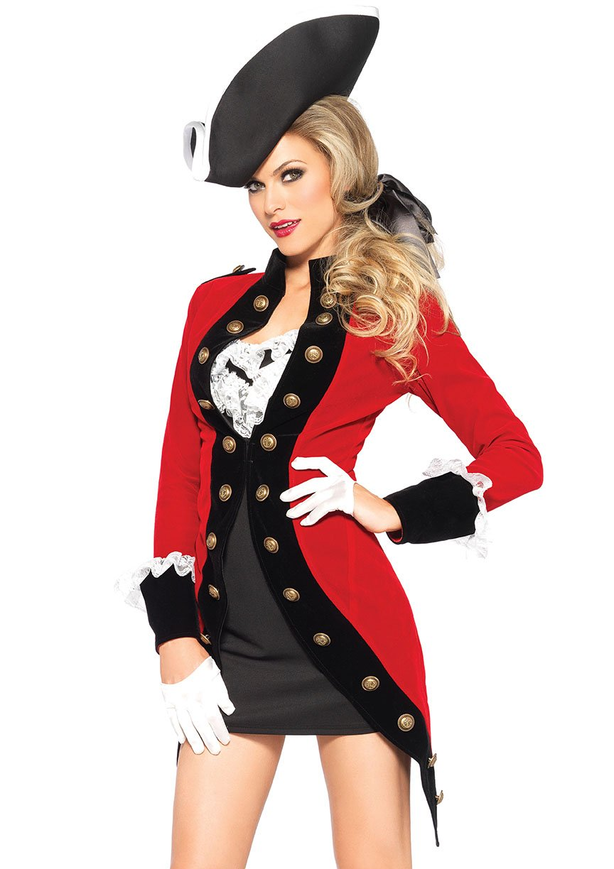 Sexy Woman's Military Red Coat 4 Piece Costume
