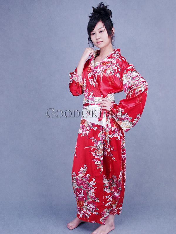 c16d17574 Red Cherry Blossom Kimono Robe