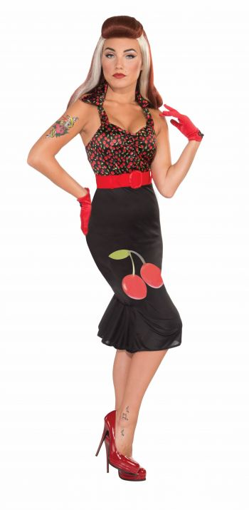 Women's Sweet Retro 50's Cherry Dress Costume