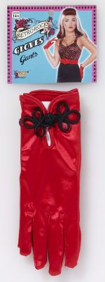 Red Satin Short Gloves w/Black Buttons