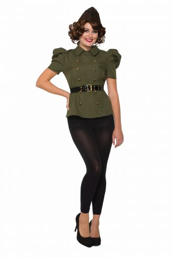 1940's Vintage Style Women's Green Shirt