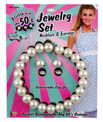 50's Style Costume Fat White Pearls Necklace w/Earrings