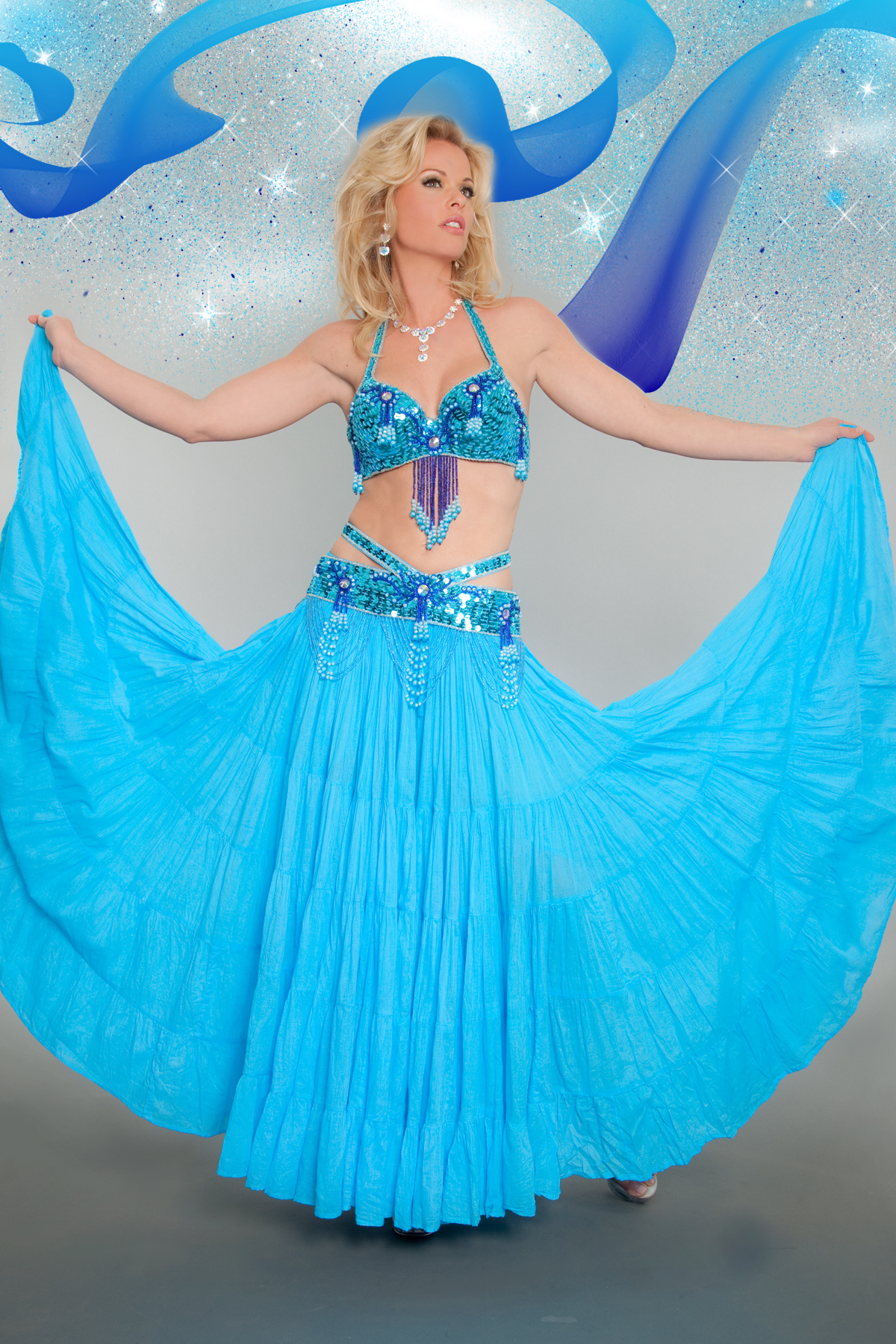 Splendid Aqua Bollywood Dancer 3 piece Set Costume