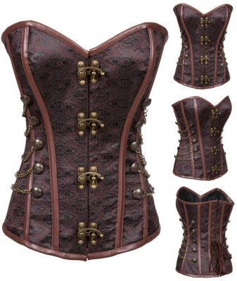 Classic Brown Strapless Steampunk Corset