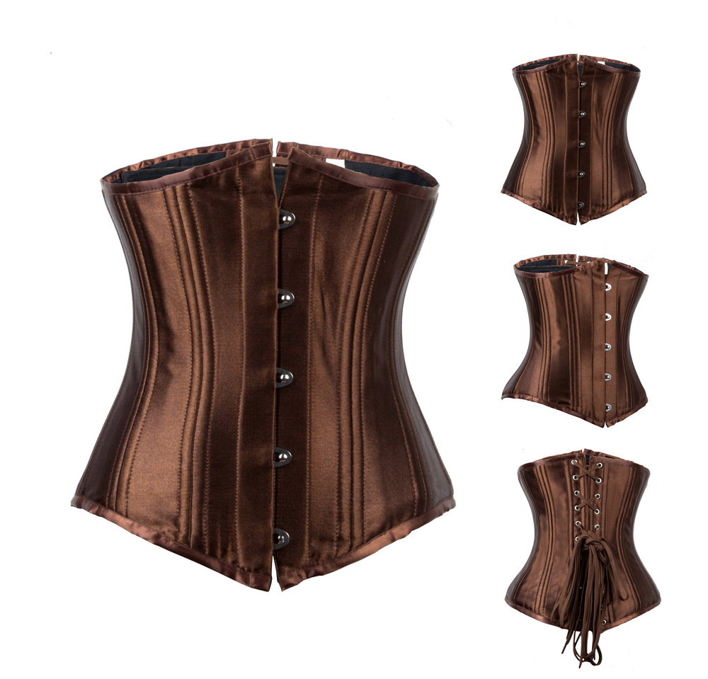 Sleek Black or Brown Steampunk Under Bust Corset