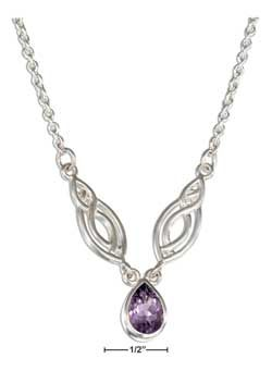 STERLING SILVER LIFE FISH AND AMETHYST TEARDROP NECKLACE