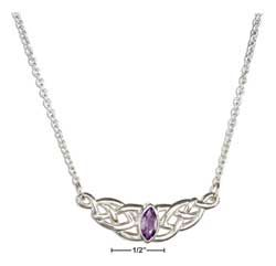 STERLING SILVER CELTIC WEAVE WITH MARQUIS AMETHYST NECKLACE