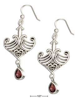STERLING SILVER ANCHOR SHAPE CELTIC MAORI EARRINGS WITH GARNET DANGLE