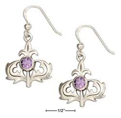 STERLING SILVER SCOTTISH THISTLE EARRINGS WITH AMETHYST