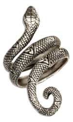 STERLING SILVER WRAPAROUND SNAKE RING WITH CELTIC TRINITY KNOTS