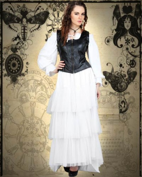 Sweet 3-Piece Steampunk White & Black Dress Costume