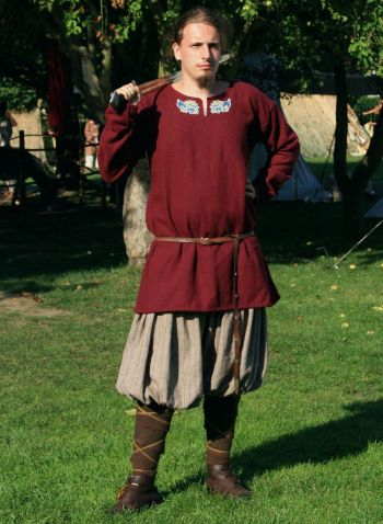 Viking Wool Long Sleeved Tunic with Embroidery