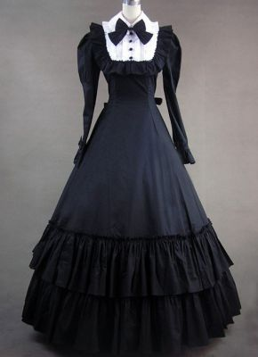 Charming Vintage Gothic Victorian Black Dress With Long Sleeves