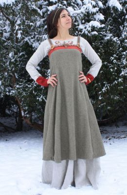 Grey with Red Viking Apron Dress Costume