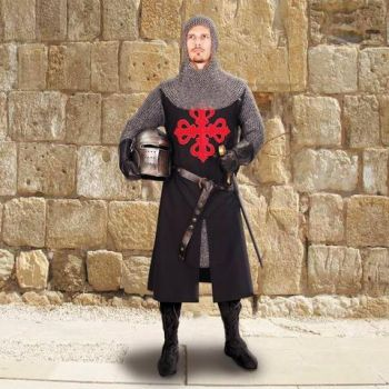 Black & Red Medieval Crusader's Tunic