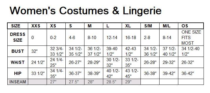 Leg Ave Women's Costume & Lingerie Size Chart