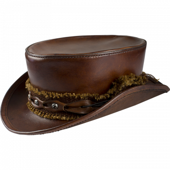 Steampunk and Period Leather Top Hat (Color: (Bk-Br): Brown)