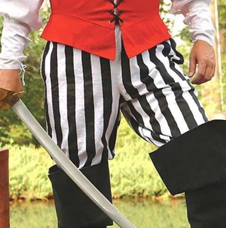 Classic Stripe Pirate Pants in Black, Black/White and Gray/Black (Color: (B/W-G/B-Bk): Black / White)
