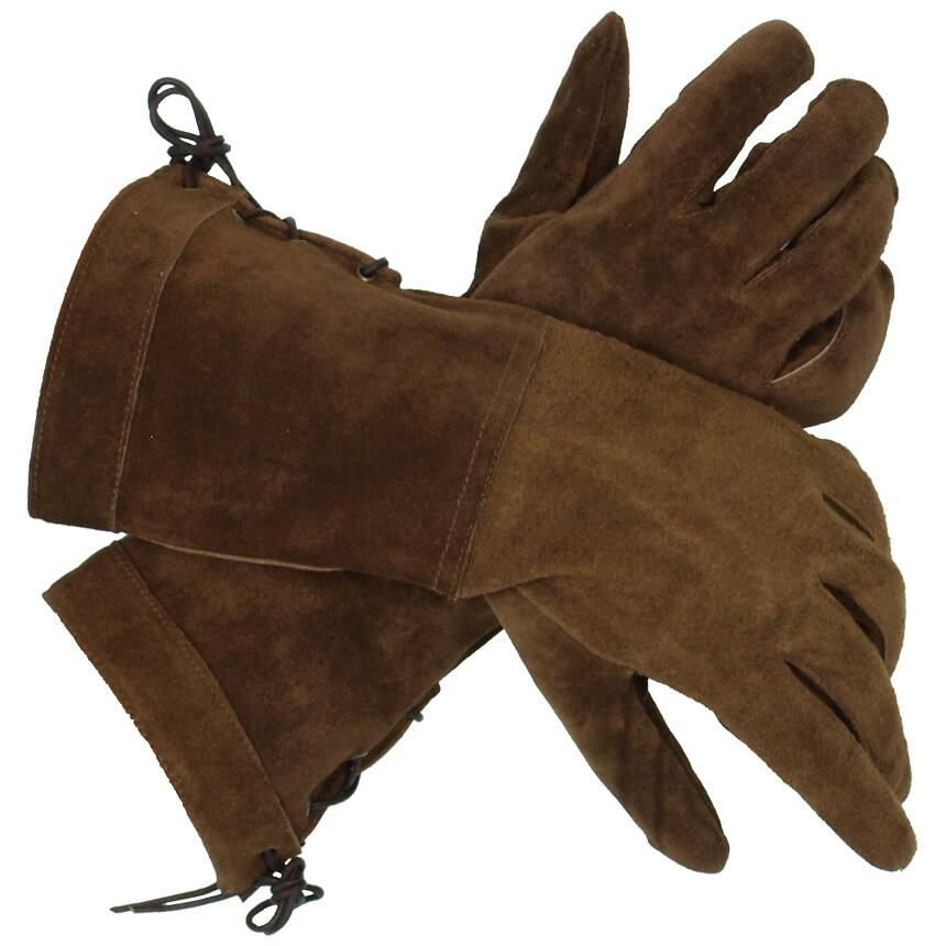 Real Suede Swordsman Gloves (Color: (Bk-Br): Brown)
