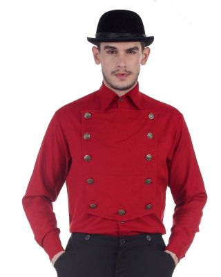 Men's Steampunk Airship Shirt - 11 Color Options (Color: (RD-AL-AU-BK-CH-DG-GR-NV-OW-OR-WH): Red)