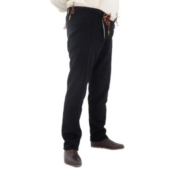 15th Century Pants Drop Front Costume Pants (Color: (BK-BN-Nat): Black)