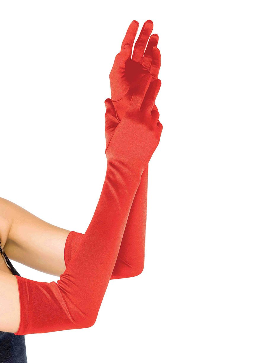 Elegant Extra Long Above the Elbow Satin Gloves (Color: (RBkWYLtB): Red)