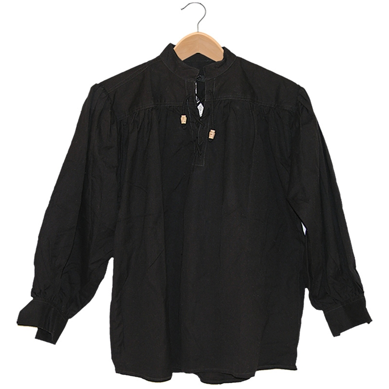 Renaissance Cotton Collarless Shirt with Laced w/Toggles (Size and Color: (B-N) (M-XXL): Black: Medium)