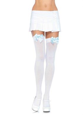 Sweet Thigh High Stockings with Bows in 13 Color Combinations (Color (BB-BG-BNP-BR-BW-BLP-LP-RR-WB-WLB-WLP-WR-WW): White with Light Blue Bow)