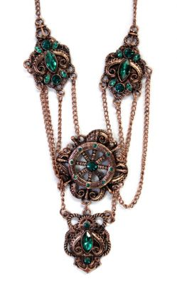 Gorgeous Gears, Ships Wheel and Rhinestone Necklace (Color: (Cpr-Svr): Copper)