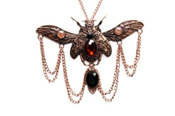 Antique Beetle with Rhinestones Necklace (Metal Color (C-S): Copper)