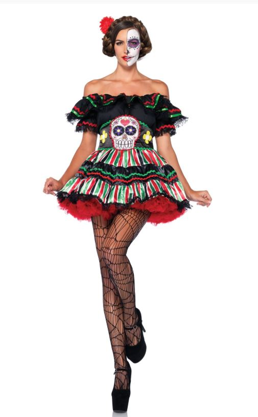 Sexy Day Of The Dead Doll Women's  Costume (Size: (S/M-M/L-XL): Small/Medium)