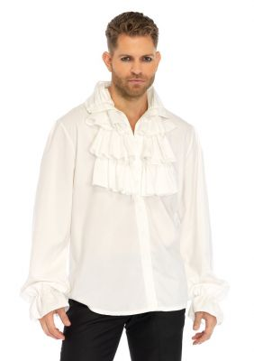 Men's Fancy Costume Ruffle Front Shirt (Color: (W-B): White)
