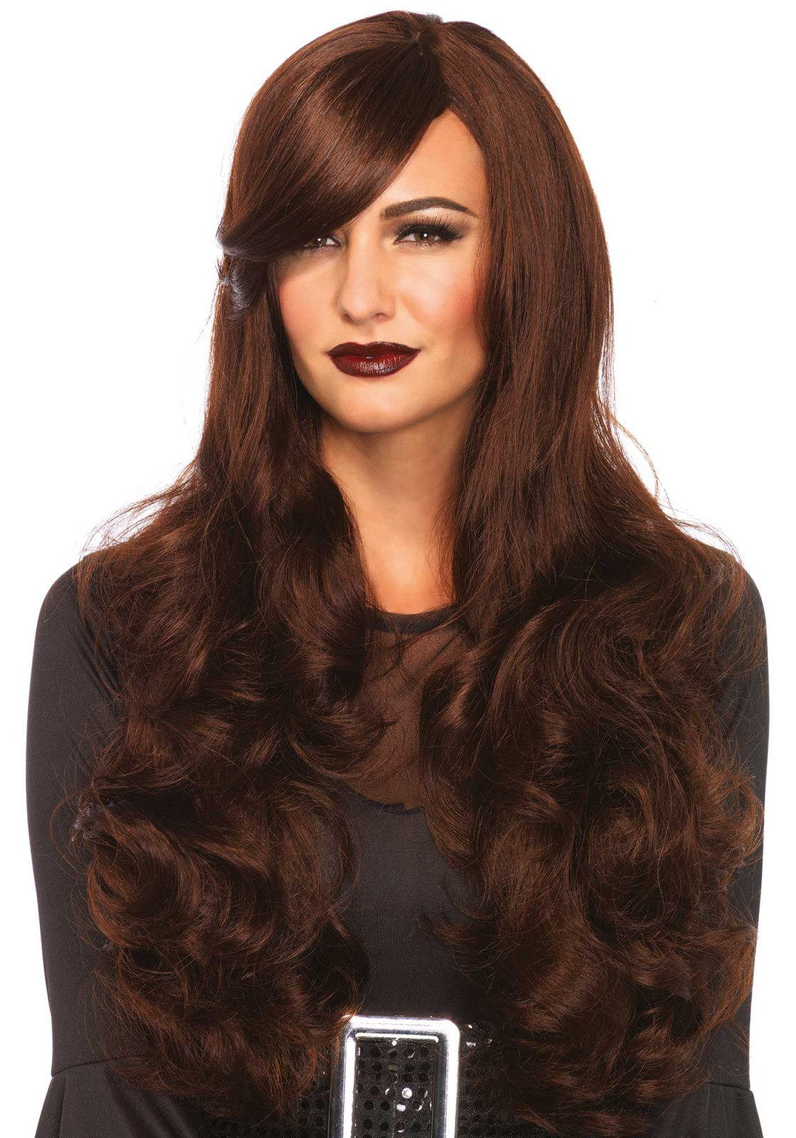 Costume Long Wavy Wig In Red, Silver Grey Or Brown (Color: (B/G/R): Brown)