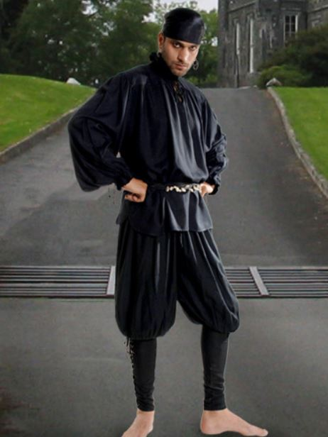 Loose Fitting Till the Knee Pirate Costume Pants (Color: (BkChGoHoHgRdRbWh): Black)